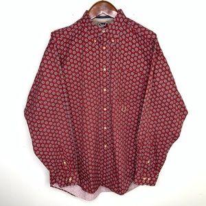 Tommy Hilfiger XL Floral Burgundy Button Up Shirt